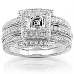 Diamond 3-Rings Wedding Set 1 1/2 carat (ctw) in 14k White Gold