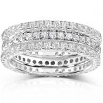 Diamond Eternity Band 1 1/2 carat (ctw) in 14k White Gold (3 Piece Set)
