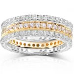 Diamond Eternity Band 1 1/2 carat (ctw) in 14k White and Yellow Gold (3 Piece Set)