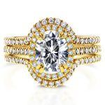 Oval Moissanite and Diamond Halo Bridal Set 2 1/4 CTW 14k Yellow Gold (3 Piece Set)
