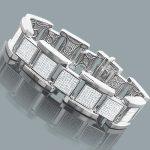 Affordable Hip Hop Jewelry: Silver Mens Diamond Bracelet 2.8ct