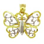 Aponi Butterfly Charm Pendant Necklace in 9ct Two-Tone Gold