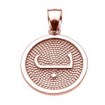 Arabic Letter Baa Initial Pendant Necklace in 9ct Rose Gold