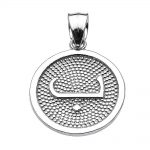 Arabic Letter Baa Initial Pendant Necklace in Sterling Silver