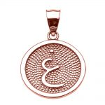 Arabic Letter Ghayn Initial Pendant Necklace in 9ct Rose Gold