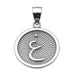 Arabic Letter Ghayn Initial Pendant Necklace in Sterling Silver