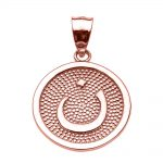 Arabic Letter Nuun Initial Pendant Necklace in 9ct Rose Gold