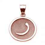 Arabic Letter Raa Initial Pendant Necklace in 9ct Rose Gold