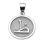 Arabic Letter Thaa Z Initial Pendant Necklace in 9ct White Gold