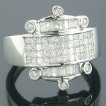 Art Deco 14K Gold Designer Diamond Mens Ring 2.28ct