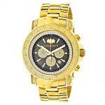 Black Dial Luxurman Diamond Watch 0.75ct Yellow Gold Plated Escalade