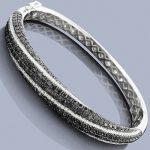 Black Diamond Jewelry: Ladies Bangle Bracelet 6.05 14K