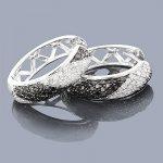 Black Diamond Jewelry: Silver Hoop Earrings 1.35ct