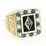 Black Onyx and Diamond Rings 14K Gold Mens White Blue Diamond Ring 1.68ct