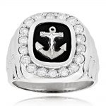 Black Onyx Diamond Rings 14K Gold Anchor Ring 1.50ct