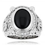 Black Onyx Rings 14K Gold Diamond Onyx Ring .65ct
