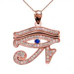 0.02ct Blue Zirconia Eye of Horus Charm Pendant Necklace in 9ct Rose Gold