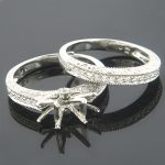 Thin Bridal Ring Sets 18K Diamond Engagement Ring Set 0.28ct