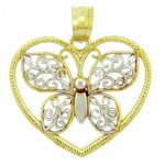 Butterfly & Heart Charm Pendant Necklace in 9ct Two-Tone Gold