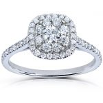 Round Diamond Cluster Engagement Ring 1/2 Carat (ctw) in 14k White Gold