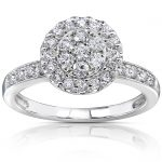 Diamond Cluster Engagement Ring 1/2 Carat (ctw) in 14k White Gold