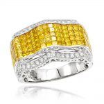 Color Diamond Rings: 14K Mens Diamond Ring 3.97