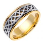 Comfort Fit Wedding Ring in 9ct Two-Tone Gold