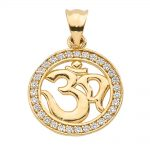 CZ Diamond Studded Om (Ohm) Pendant Necklace in 9ct Gold
