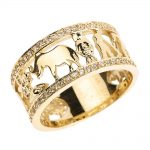 CZ Diamond Studded Unisex Lucky Ring in 9ct Gold