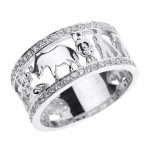 CZ Diamond Studded Unisex Lucky Ring in 9ct White Gold