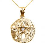CZ Sand Dollar Pendant Necklace in 9ct Gold