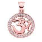CZ Studded Om (Ohm) Pendant Necklace in 9ct Rose Gold
