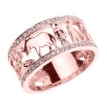 CZ Studded Unisex Lucky Ring in 9ct Rose Gold