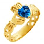 CZ Trinity Band Heart Claddagh Ring in 9ct Gold
