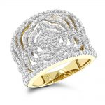 Designer Bands: 14K Diamond Floral Ring 1.05ct