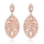 Designer Diamond Drop Earrings 1.36ct 14K Gold