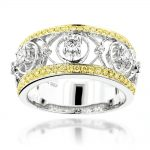 Designer Diamond Ring For Women 0.85ct White and Yellow Diamonds 14K Gold