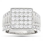 Designer Luxurman Rings 14K Yellow Rose White Gold Mens Diamond Ring 1.8ct