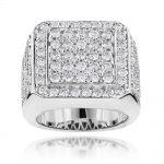 Mens Diamond Rings 6ct 14k Gold Designer