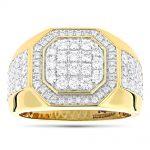 Designer Men's Diamond Ring in 14k Gold by Luxurman 1.8ct