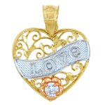 Diamond and CZ Valentine Love Banner Pendant Necklace in 9ct Gold
