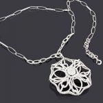 Diamond Flower Necklace 8.63ct 14K Gold