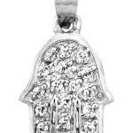 Diamond Hand of God Pendant Necklace in 9ct White Gold