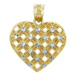 Diamond Heart of Flowers Pendant Necklace in 9ct Two-Tone Gold