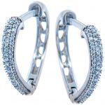 Diamond Pave Heart Hoop Earrings in 9ct White Gold