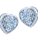 Diamond Pave Heart Stud Earrings in 9ct White Gold