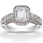 Halo Diamond Platinum Engagement Ring Mounting 1.05ct