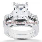 Emerald Cut Diamond Platinum Engagement Ring Set 1.24ct