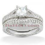 Diamond Platinum Engagement Ring Set 1.54ct