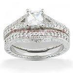 Diamond Platinum Engagement Ring Setting Set 0.54ct